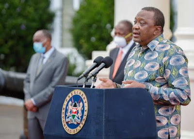 President Uhuru Kenyatta at statehouse addressing the nation.