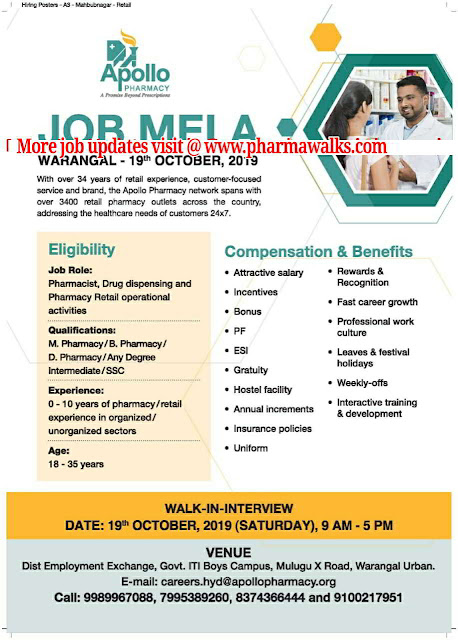 Apollo Pharmacy - Mega Walk-in drive for Freshers & Experienced candidates on 19th October, 2019 @ Warangal