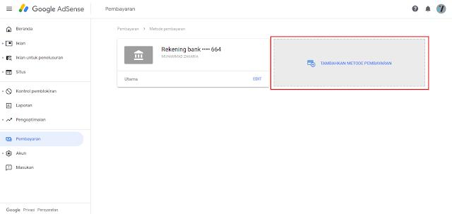 Menambahkan Metode Pembayaran Google Adsense