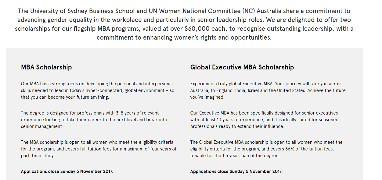 UN Women NC Australia MBA Scholarships at University of Sydney in Australia