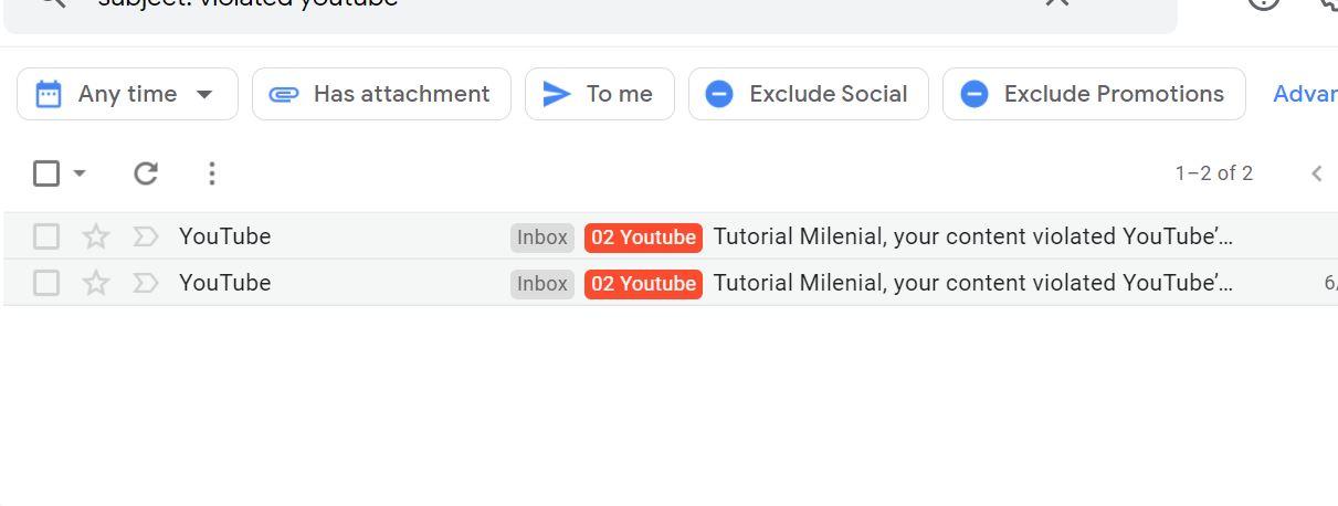 email strikes dari Youtube