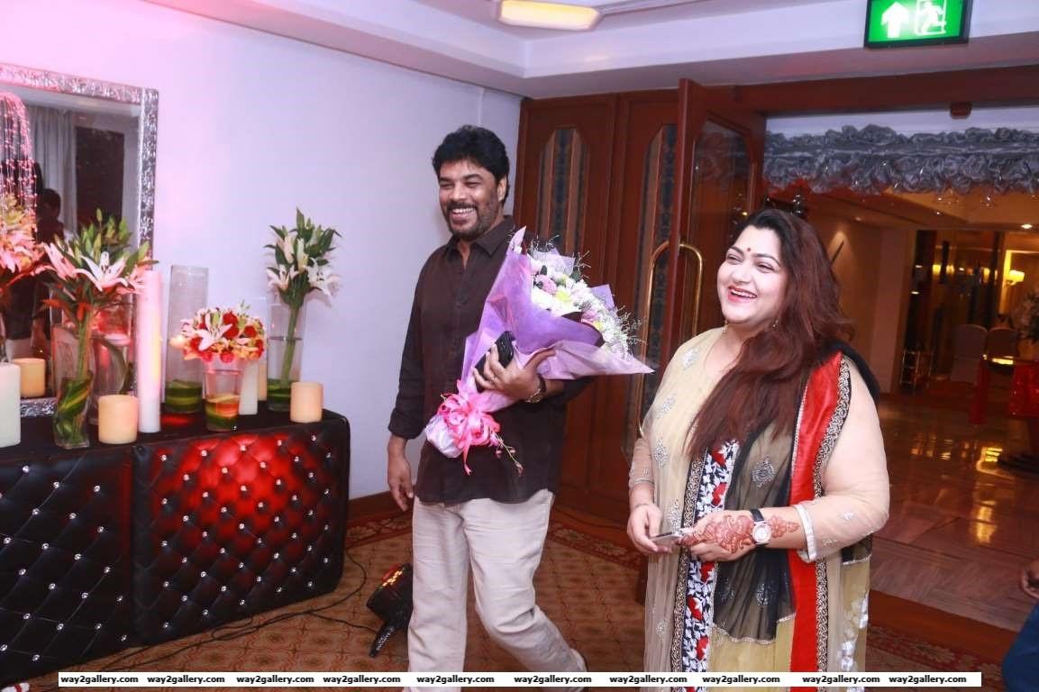 Khushboo and Sundar C arrive for Sripriya and Rajkumars wedding anniversary celebration