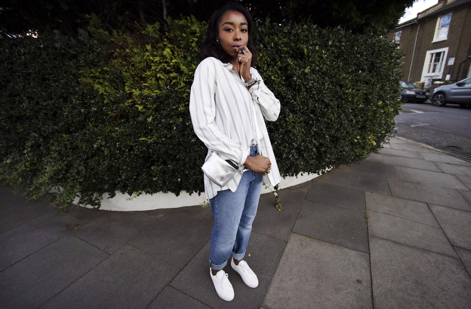 Striped white shirt blue boyfriend jeans