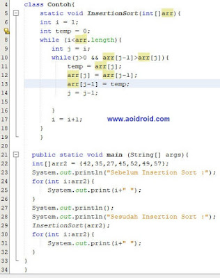 contoh insertion sort java
