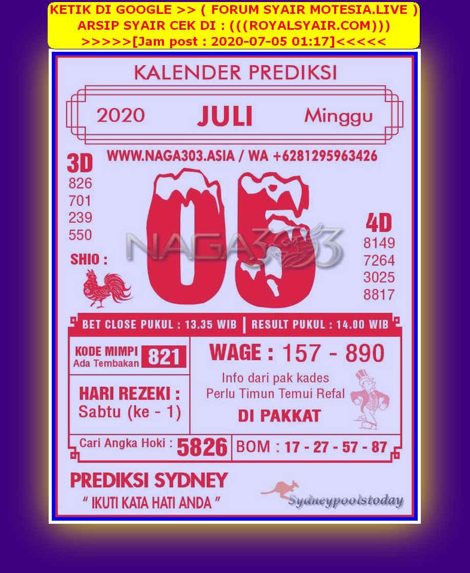 Kode syair Sydney Minggu 5 Juli 2020 226