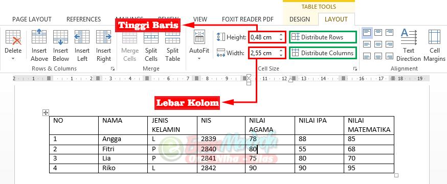 Cara mengatur lebar kolom dan tinggi baris tabel word