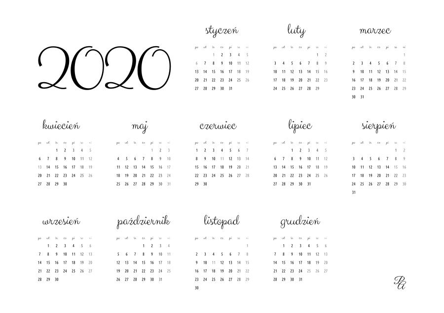 kalendarz 2020 czarny