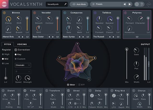 Interface do plugin iZotope - VocalSynth 2 v2.2.0