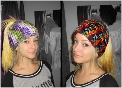 Gorros a crochet con abertura central para llevar el pelo recogido