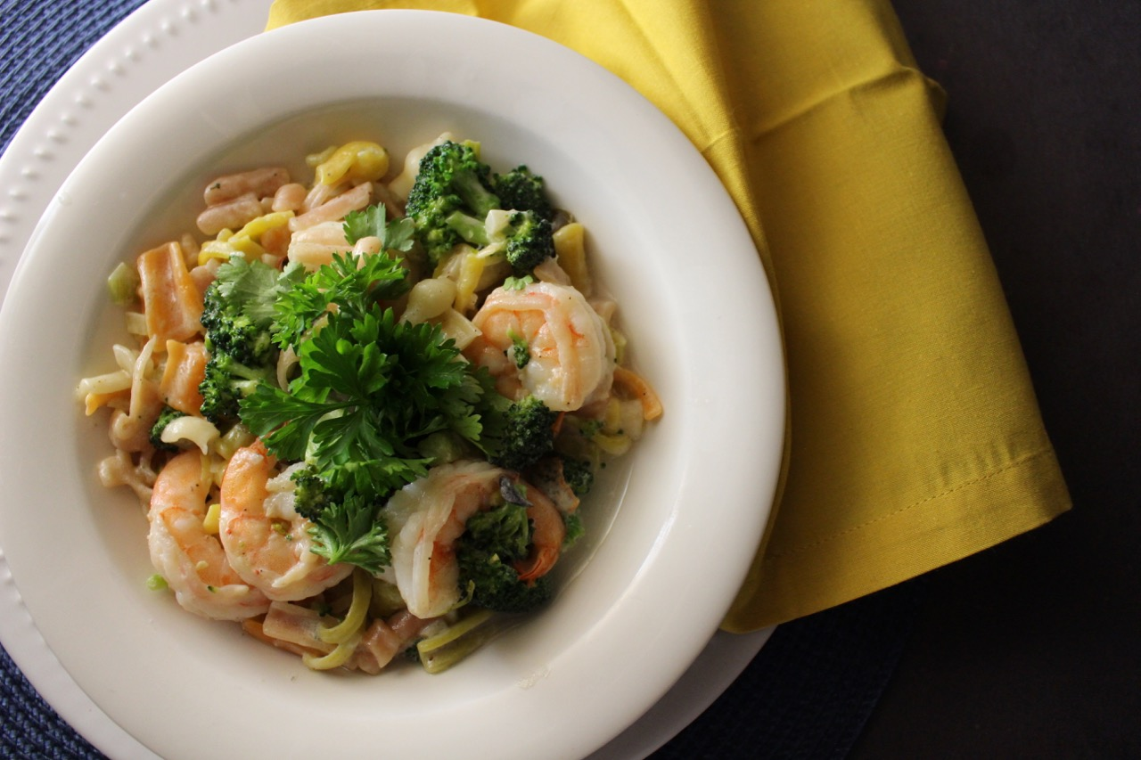 Cuisine Ici: Creamy Pasta with Shrimp and Broccoli