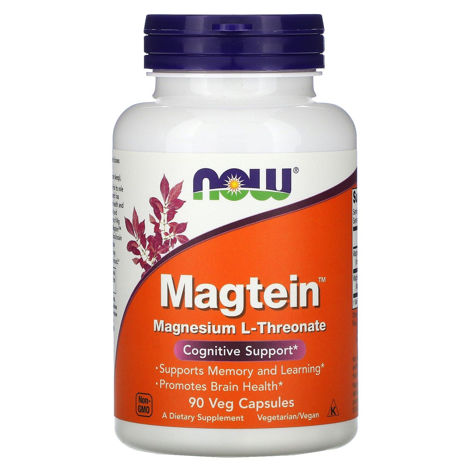 Now Foods, Magtein, L-треонат магния, 90 растительных капсул