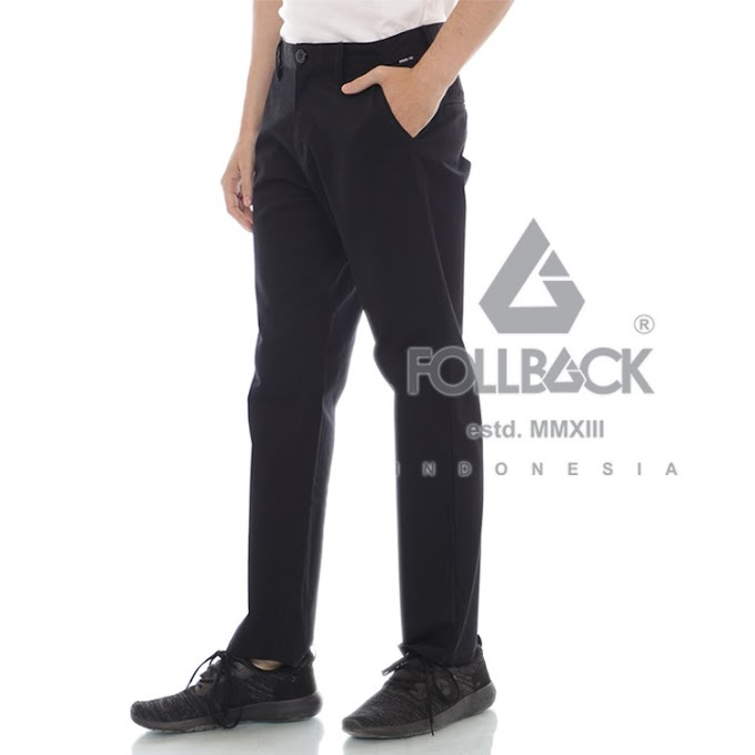 Celana Chino Pria Premium Follback California Black