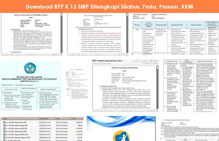 Download Rpp K 13 Smp Dilengkapi Silabus Prota Prosem Kkm Operator Sekolah