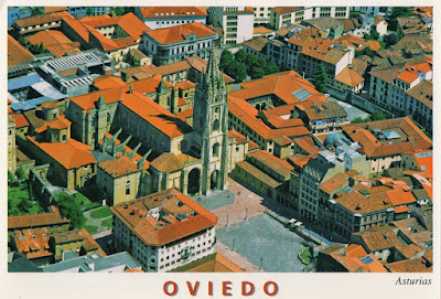 Oviedo, catedral, vista aérea, postal
