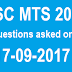 SSC MTS 2016 Questions asked on 17 September 2017