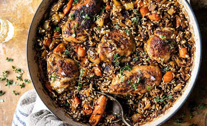 One-Pot Lemon Rosemary Dijon Chicken and Butter Toasted Rice Pilaf