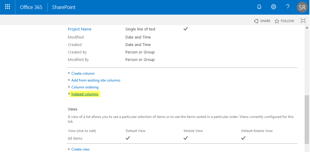 indexed column in sharepoint online