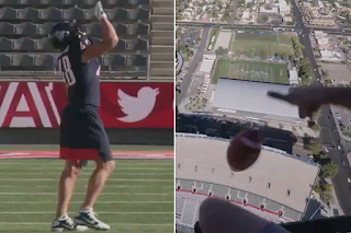 Gronkowski catches football dropped from helicopter for world record|interesting news|