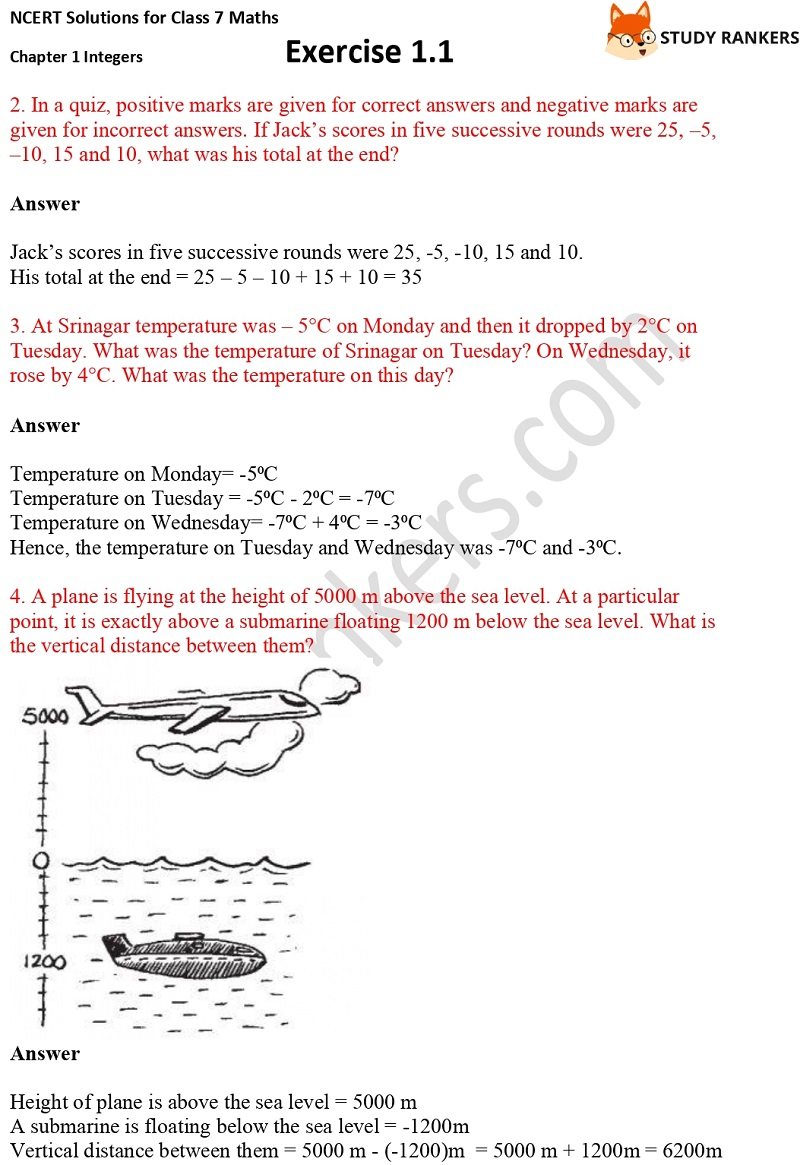 NCERT Solutions for Class 7 Maths Ch 1 Integers Exercise 1.1 2