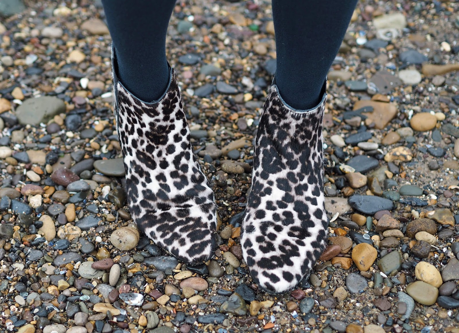 Boden snow leopard ankle boots