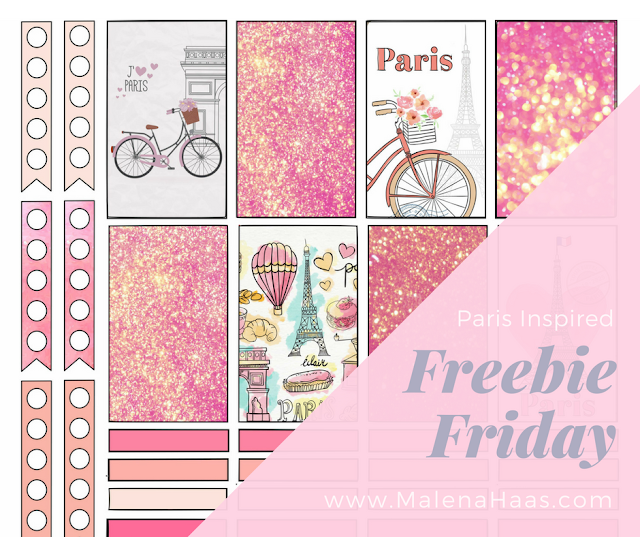Free Pink Paris Themed Printable Stickers for Download