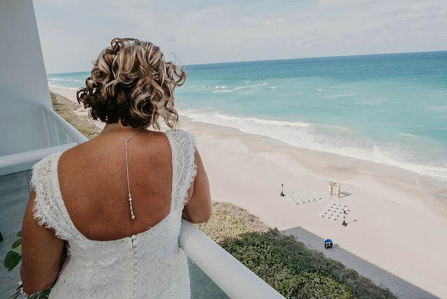 Bride looking at Ceremony area