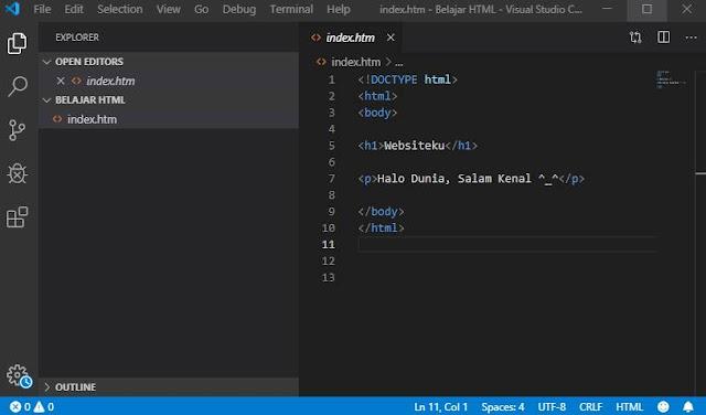 Text Editor HTML Visual Studio Code
