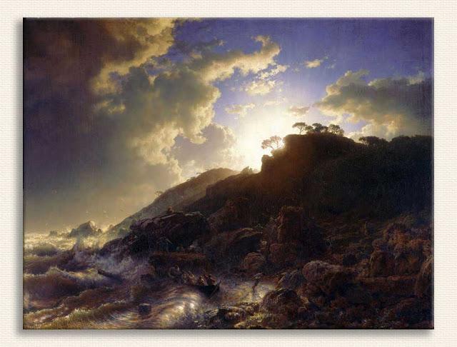 Andreas Achenbach, Sicilya Sahilinde Fırtına Sonrası Günbatımı tablosu