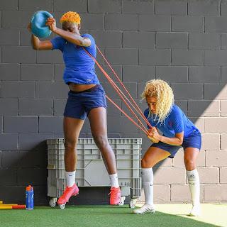 Check Out Beautiful Photos of Hardworking Asisat Oshoala In The Gymnasium