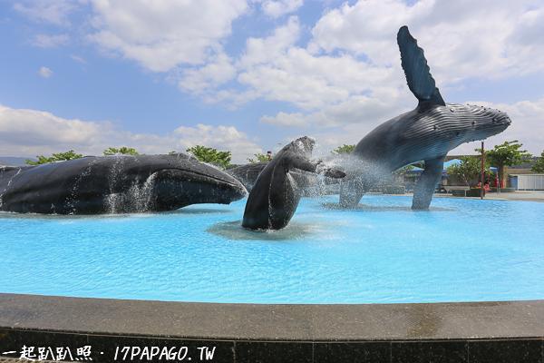 屏東海生館內的地標:鯨魚廣場,好多不同的大鯨魚躍出海面