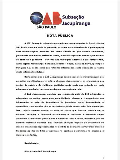 NOTA PÚBLICA - OAB DE JACUPIRANGA