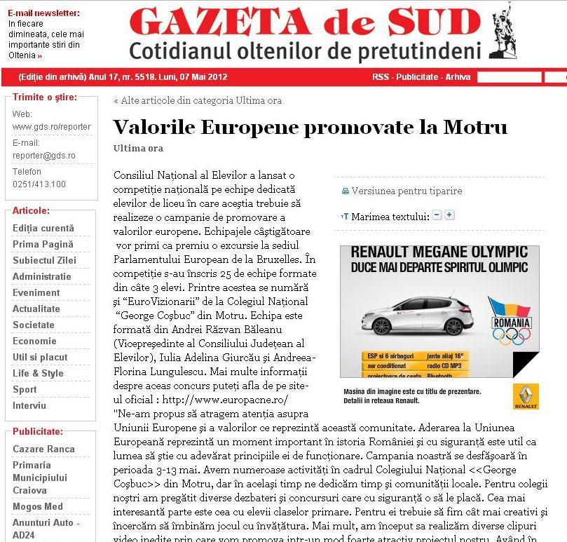 Telefonul Copilului - Mass Media 2008  |Gazeta De Sud