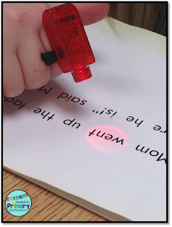 Dollar store finger lights are the perfect tool to use to have kids track text during guided reading lessons.