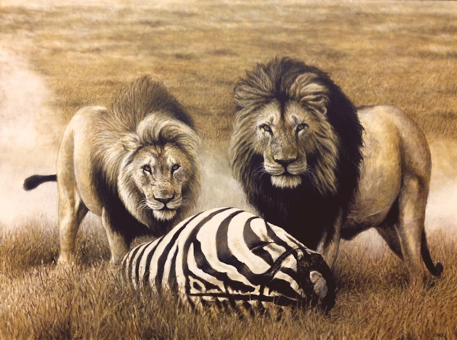 05-Lions-and-Prey-Nick-Sider-Realistic-Animal-Paintings-more-than-a-Photo-Image-www-designstack-co
