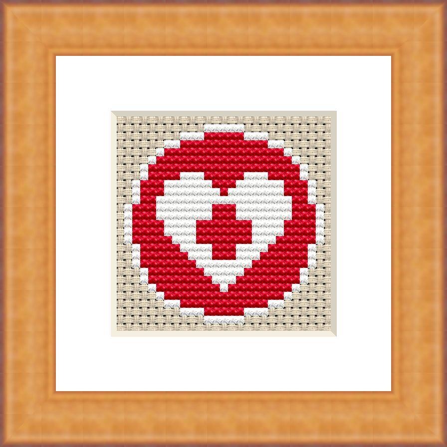 Medical heart cross stitch pattern