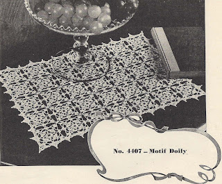 Crocheted Doily Mat Pattern in square medallions