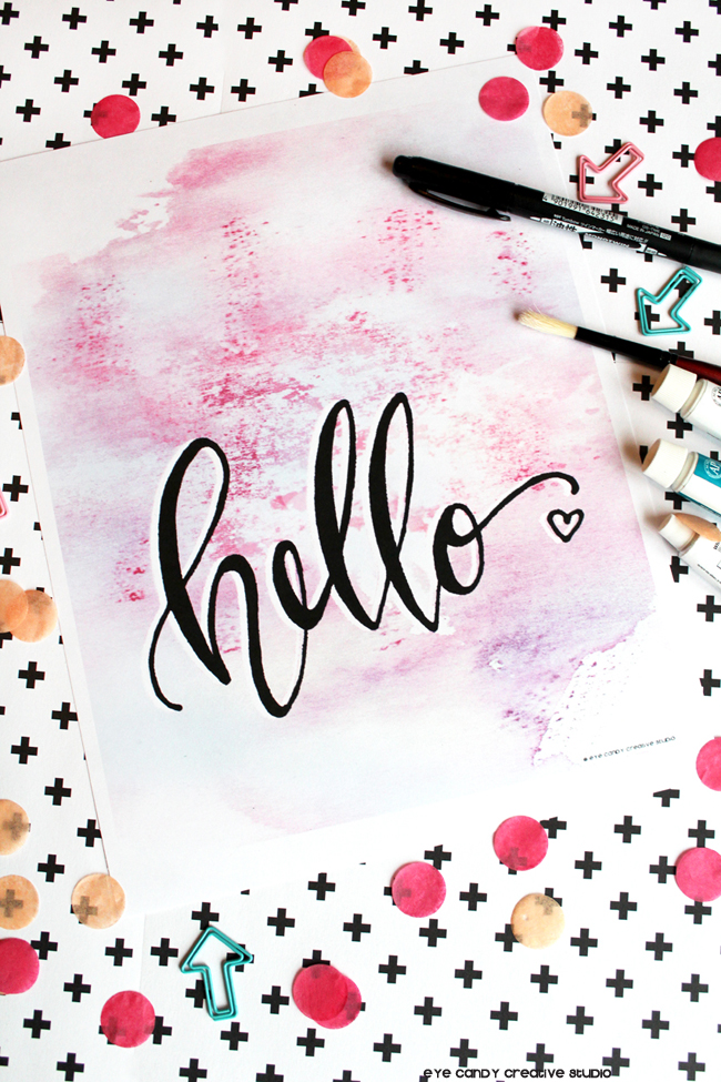 hello art print, tombow pen, confetti, watercolor primt, hand lettering