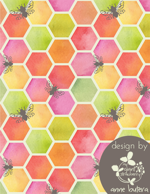repeat patterns, honeycomb, bees, watercolor, surface pattern design, Anne Butera, My Giant Strawberry