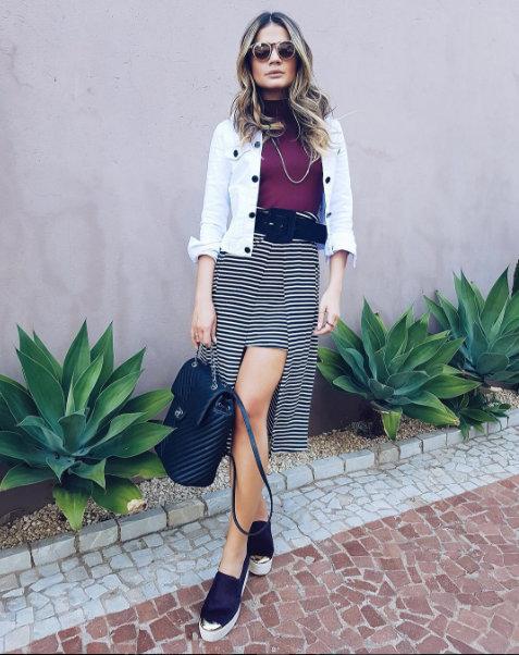 blog da thassia saia listras casqueto branco bolsa chanel
