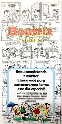 convite aniversário artesanal infantil personalizado turma da Mônica quadrinhos 3d