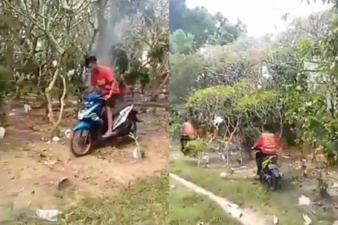 Latihan 'Motocross' di Atas Kuburan, 2 Pemuda Ini Viral di Sosmed