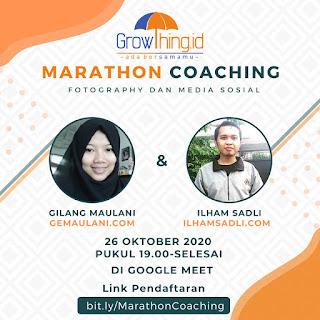 Marathon coaching hari ke 2 tentang branding di media sosial dan potret atau foto sebagai penunjang konten blog