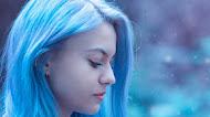 Blue Hair Girl With Rose Mobile wallpaper