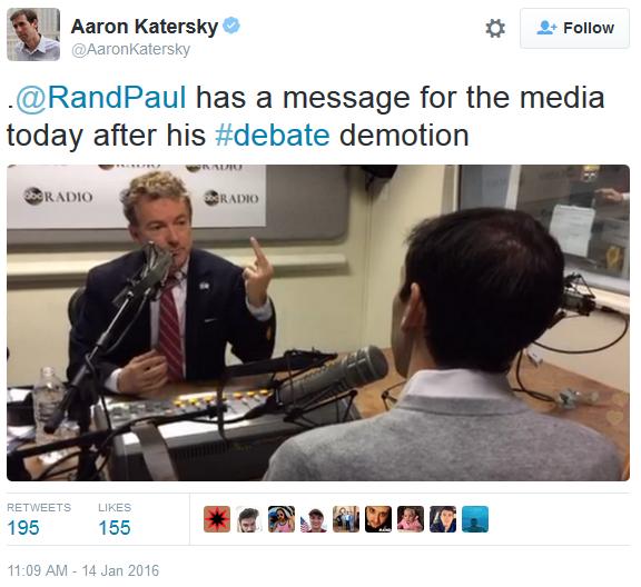 Rand Paul middle finger flip the bird to media debate demotion