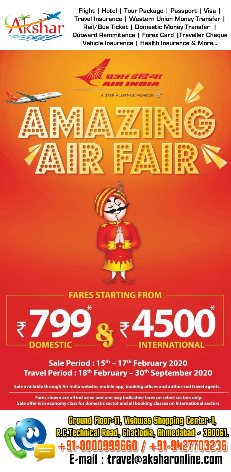 AIrIndia Amazing Airfare Sale...domestic and international, sale, special fare...akshar travel services, aksharonline.com, 9427703236, 8000999660