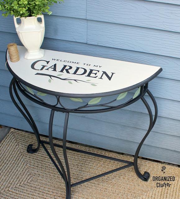 Photo of demilune garden stenciled table