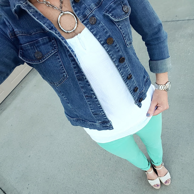 Kut From the Kloth Denim Jacket - similar for $33 // Sleeveless Blouse via Marshall's (similar) // Banana Republic Mint Skinny Jeans (similar) // Charles David Wedges (similar) // Michael Kors Runway Watch
