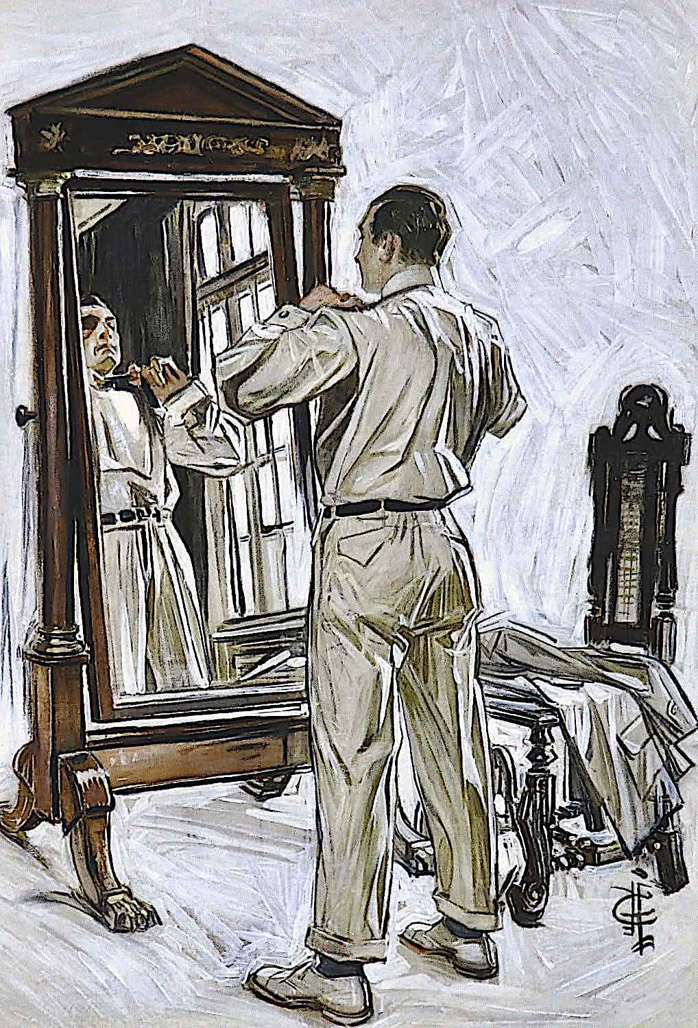an illustration by Joseph Christian Leyendecker of a man dressing in white clothes with a mirror