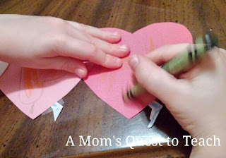 Coloring a letter on a heart