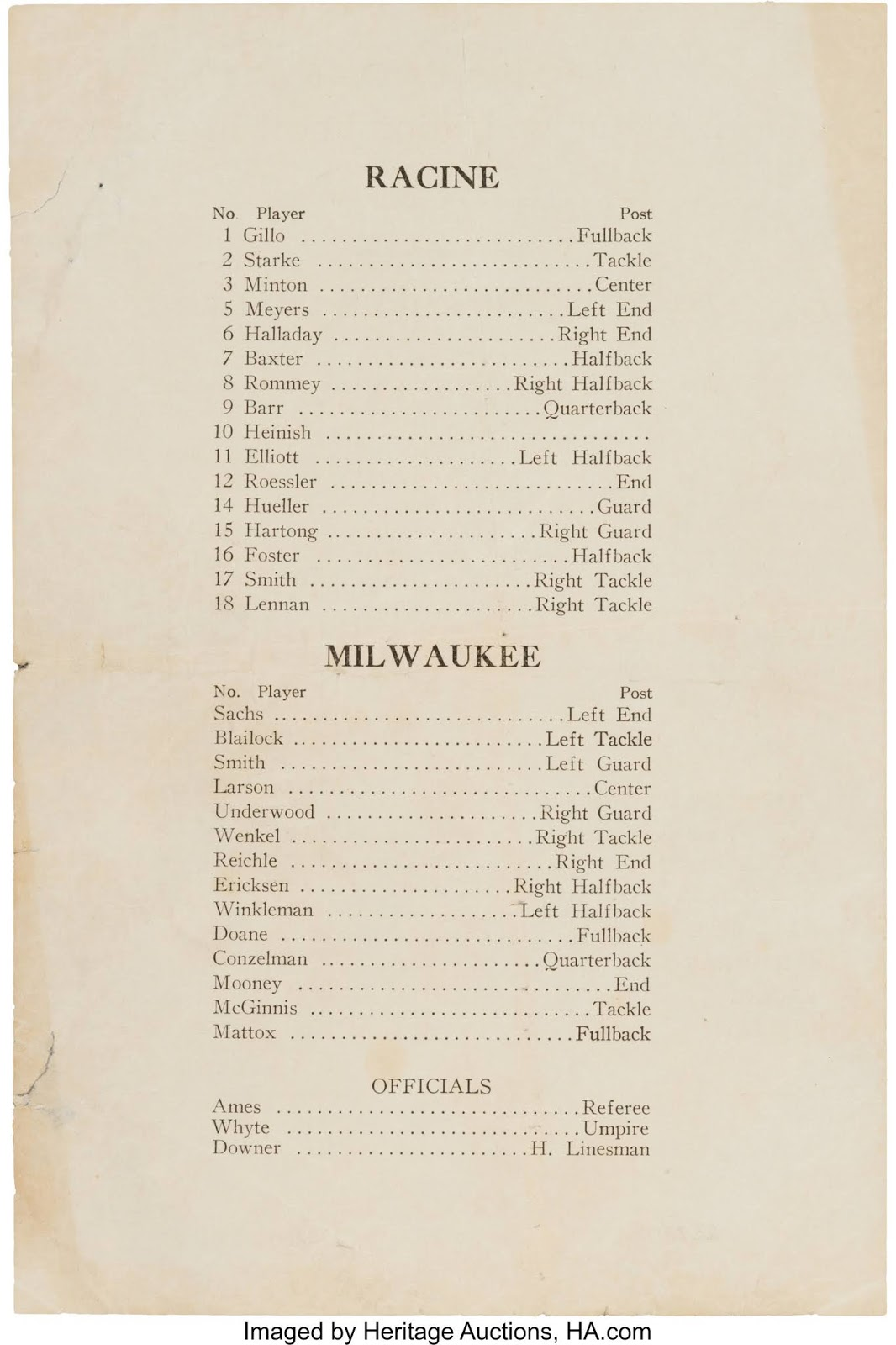 Borchert Field: 1923 Milwaukee Badgers Program Up for Auction